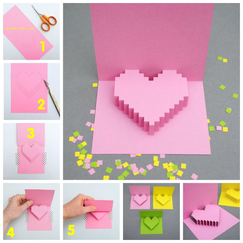 creative ideas diy pixel heart popup card