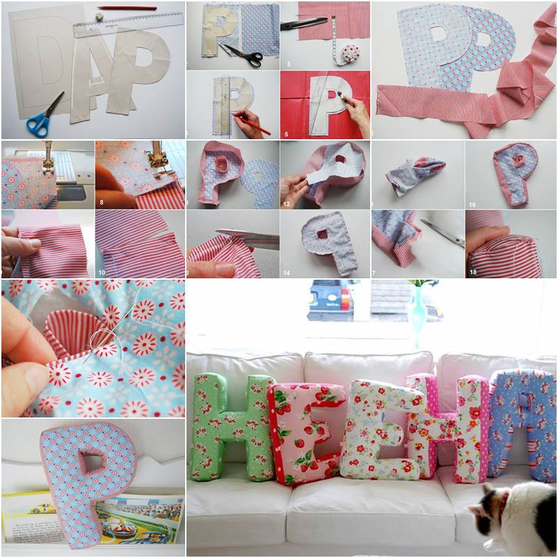 diy fabric alphabet letter cushion