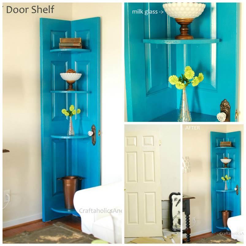 How To DIY Repurpose An Old Door Into A Corner Shelf