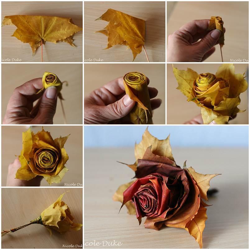 Как сделать розы из листьев своими руками