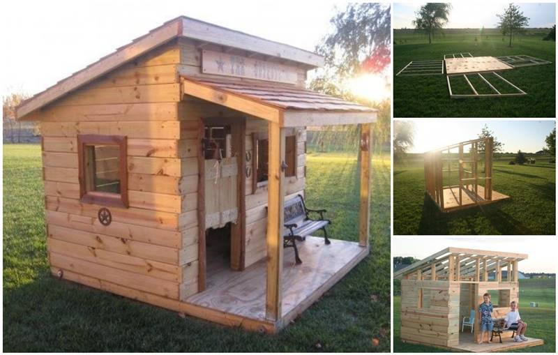 Creative ideas build a diy western saloon kid s fort for How to build a wood fort in your backyard