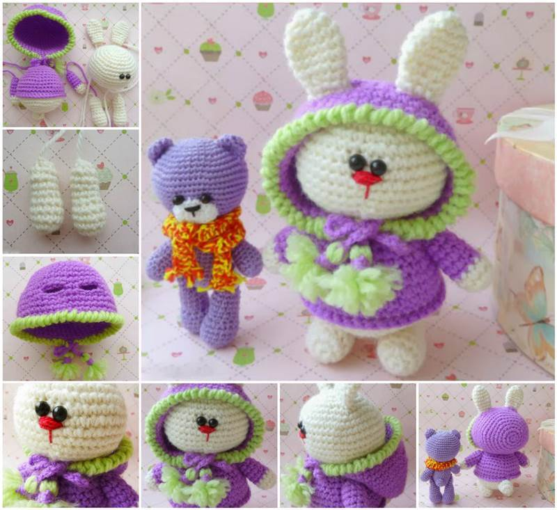 Diy Amigurumi Animals : Creative Ideas - DIY Adorable Crochet Amigurumi Bunny ...