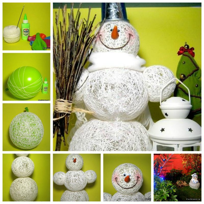 Creative Ideas - DIY Adorable Snowman Using Yarn and Balloon