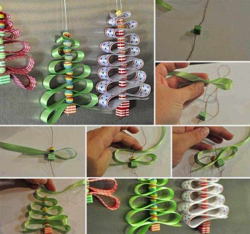 Creative ideas diy adorable ribbon and beads christmas tree Creative christmas decorations