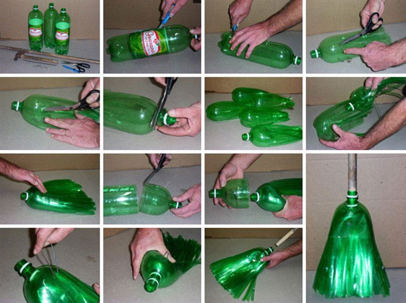 Creative ideas diy broom from plastic bottles for Creativity with plastic bottles