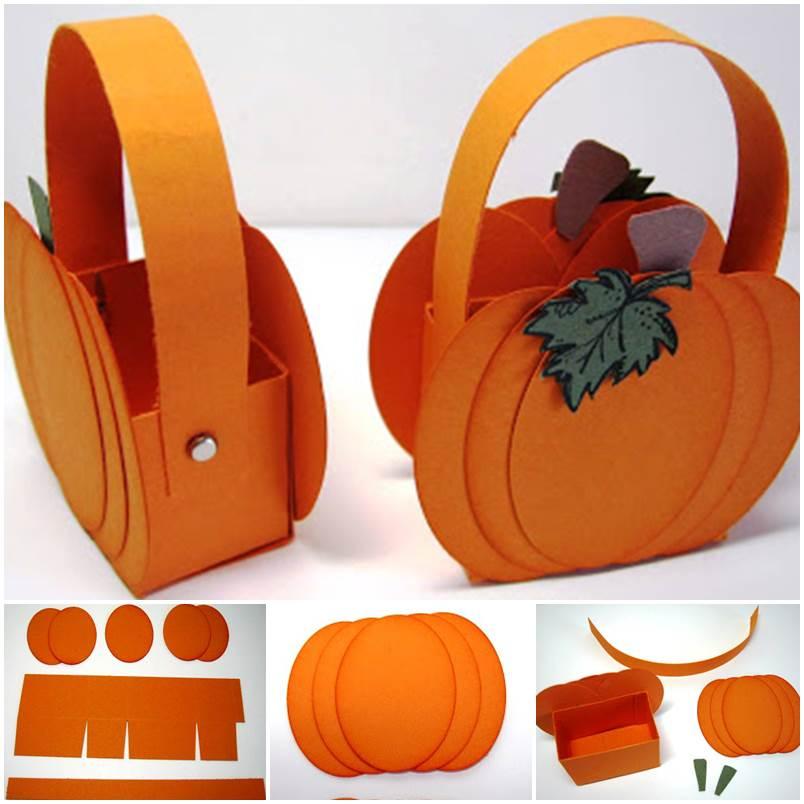 Creative ideas diy cute little paper pumpkin basket for Creative ideas with paper