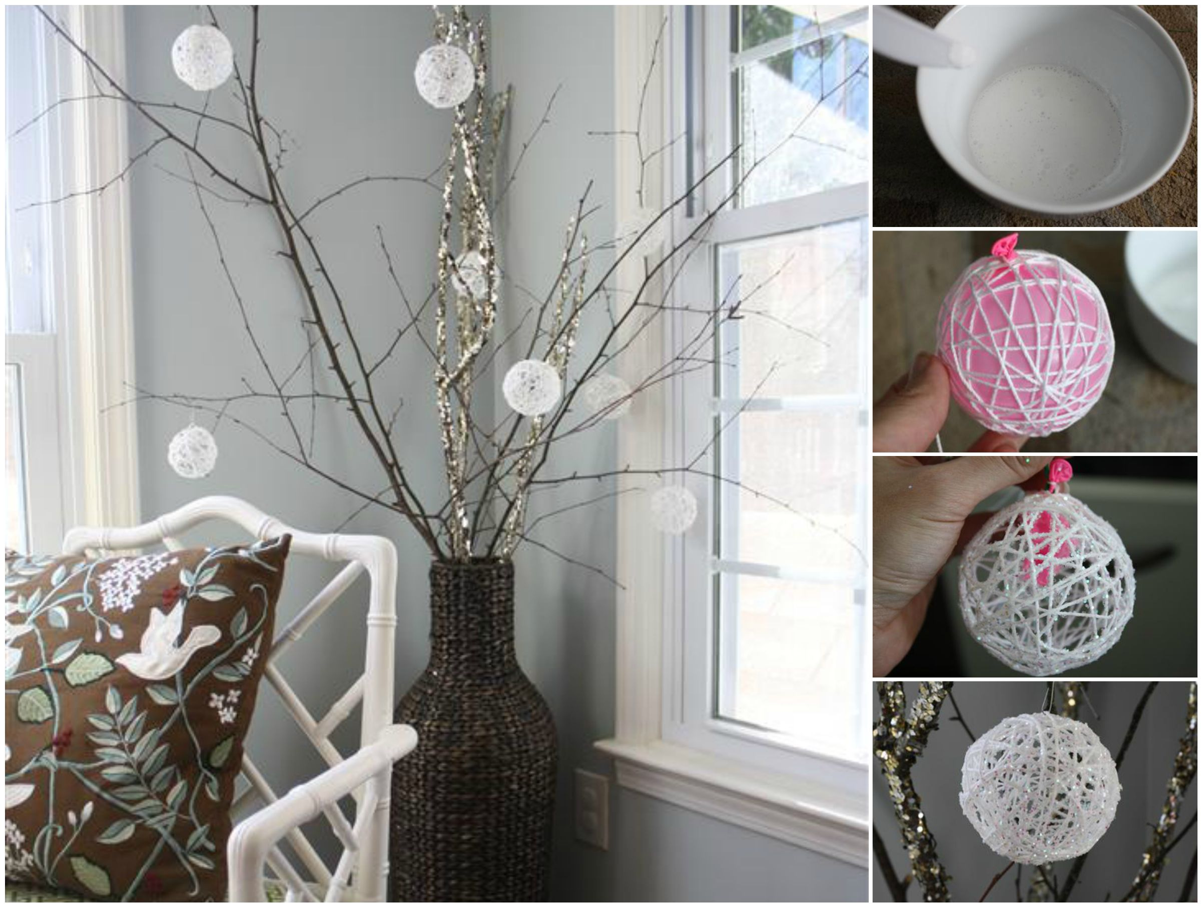 Creative ideas diy glittery snowball christmas ornaments Creative christmas decorations