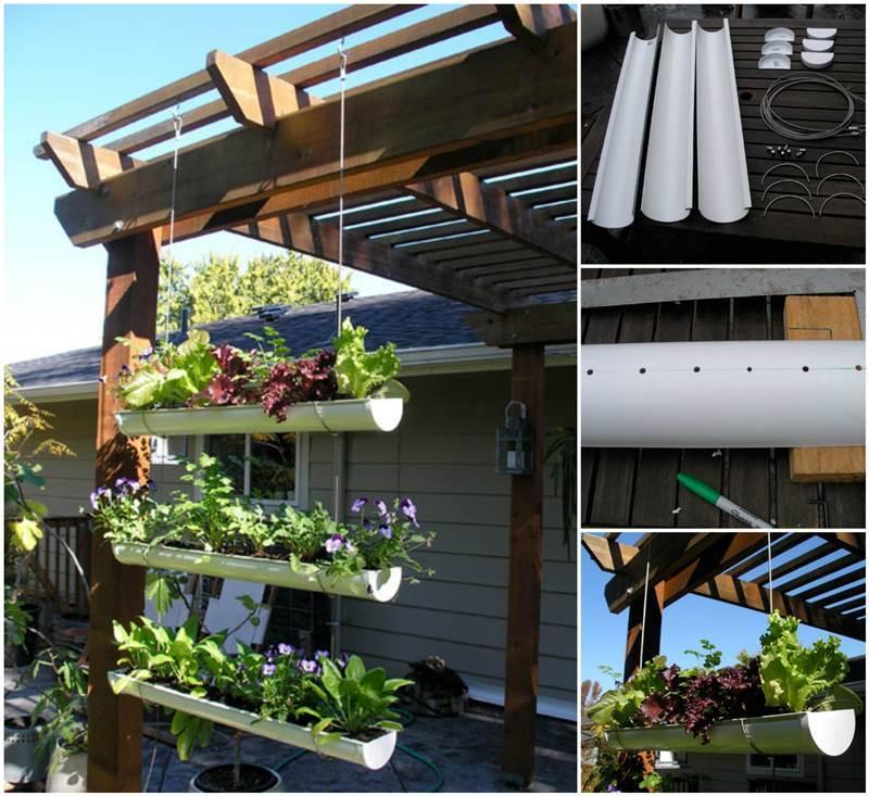 Creative Ideas - DIY Hanging Gutter Garden