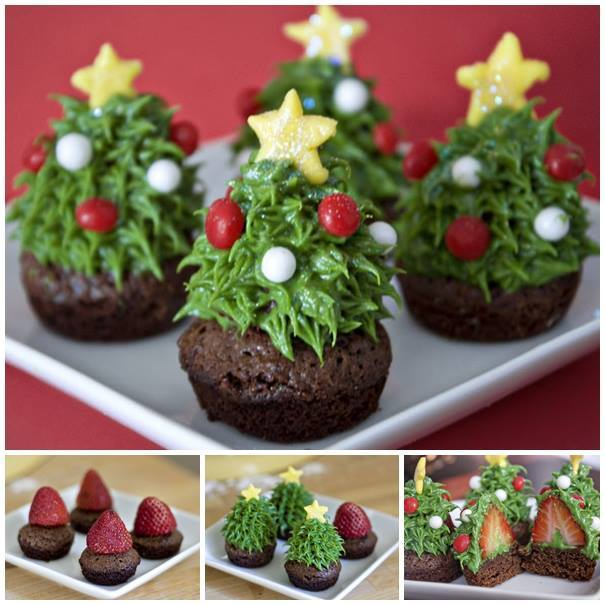 Pretty Christmas Trees: DIY Pretty Strawberry Christmas Tree Brownie