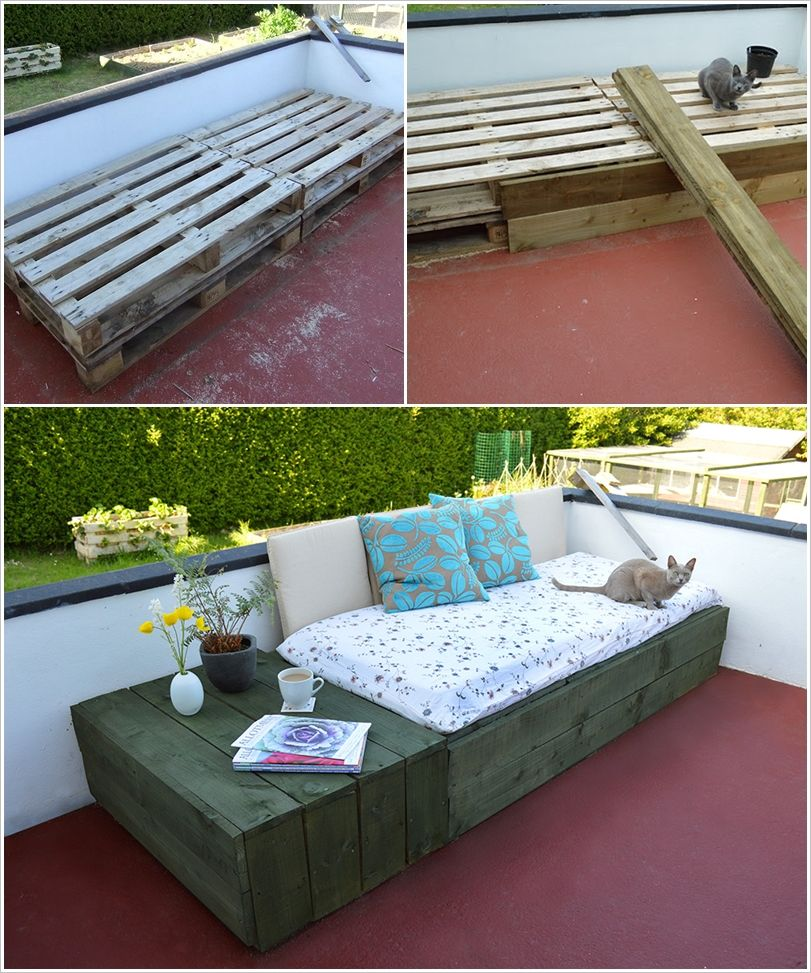 creative ideas diy patio day bed from wooden pallets. Black Bedroom Furniture Sets. Home Design Ideas