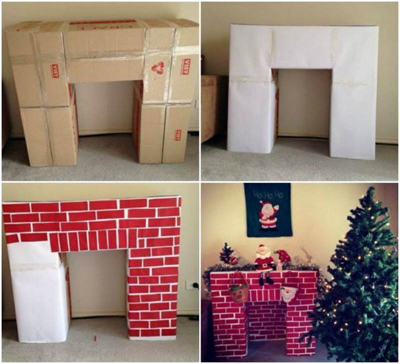 creative ideas diy cardboard decorative fireplace - Decorative Fireplace