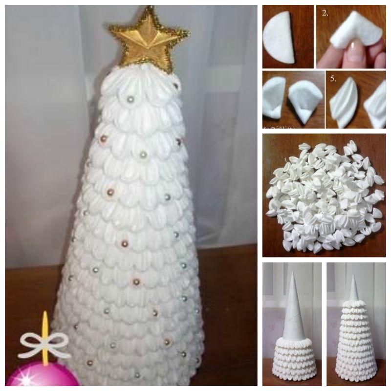 16 Creative Diy Christmas Decorations Ideas: DIY Cotton Pad Christmas Tree