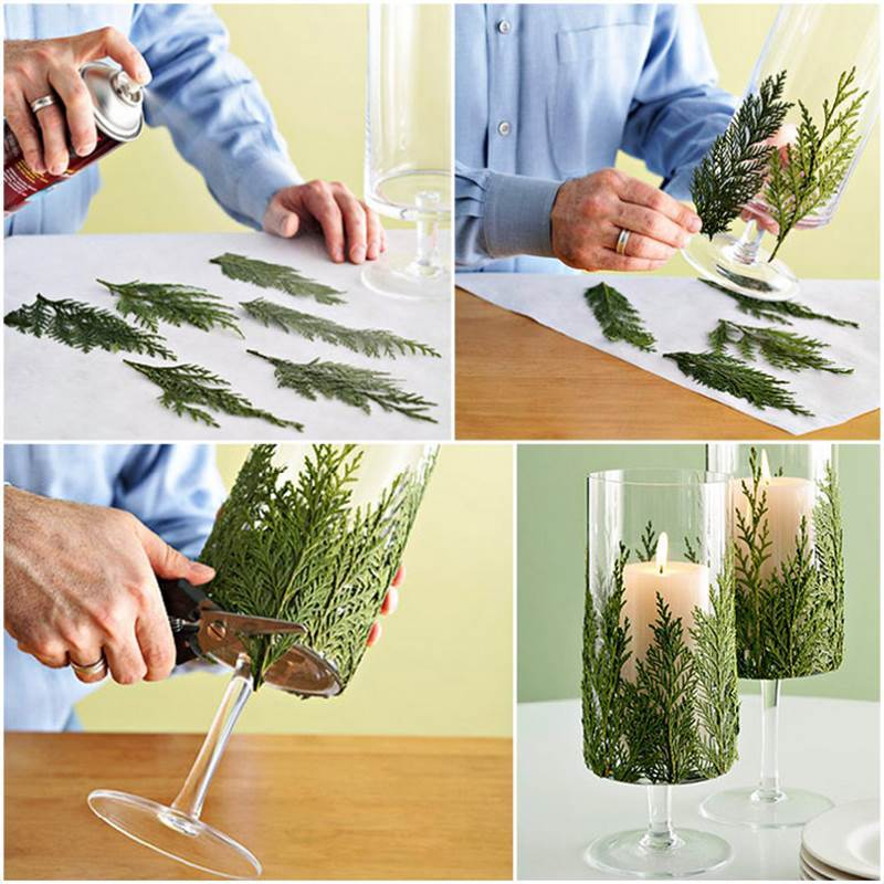 Creative ideas diy evergreen christmas candle holder for How to make christmas candle holders