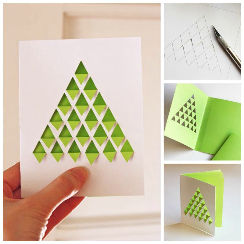 Creative ideas diy chevron design christmas tree card for Creative simple