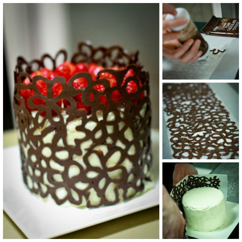 Cake Decorating Ideas Chocolate Cake : Creative Ideas - DIY Chocolate Lace Flower Cake Decoration