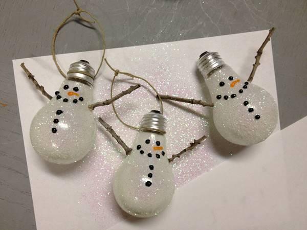 Creative Ideas - DIY Light Bulb Christmas Ornaments --> Snowman Ornament