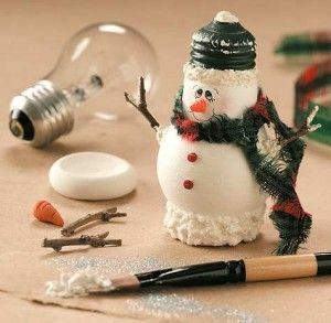 Creative Ideas - DIY Light Bulb Christmas Ornaments --> Light Bulb Snowman Craft