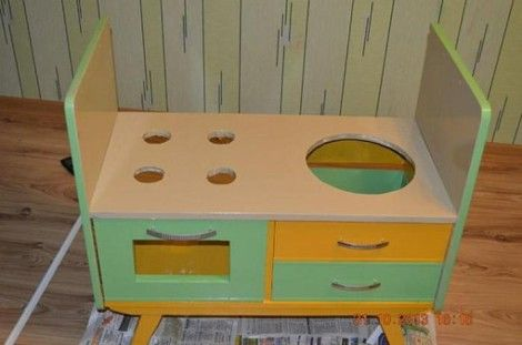 Creative Ideas - DIY Repurpose an Old Nightstand into a Play Kitchen 14