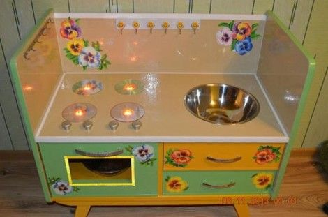 Creative Ideas - DIY Repurpose an Old Nightstand into a Play Kitchen 20