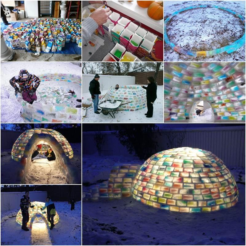 Creative Ideas - How to Build a Rainbow Igloo Using Milk Cartons