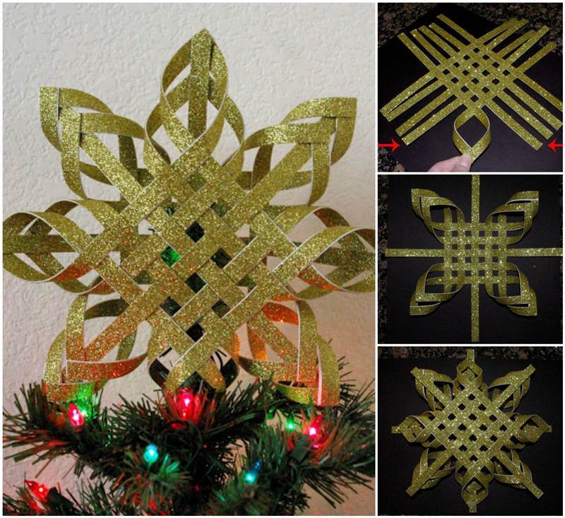 Christmas Tree Made Out Of Paper: DIY Woven Paper Snowflake Ornaments