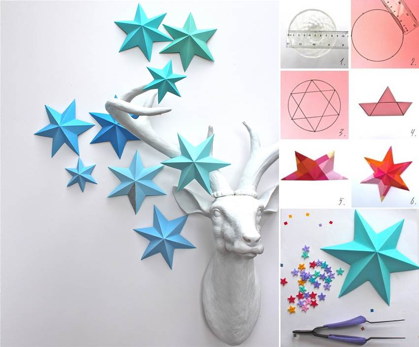 Creative ideas diy 3d paper star ornaments for Creative craft ideas with paper