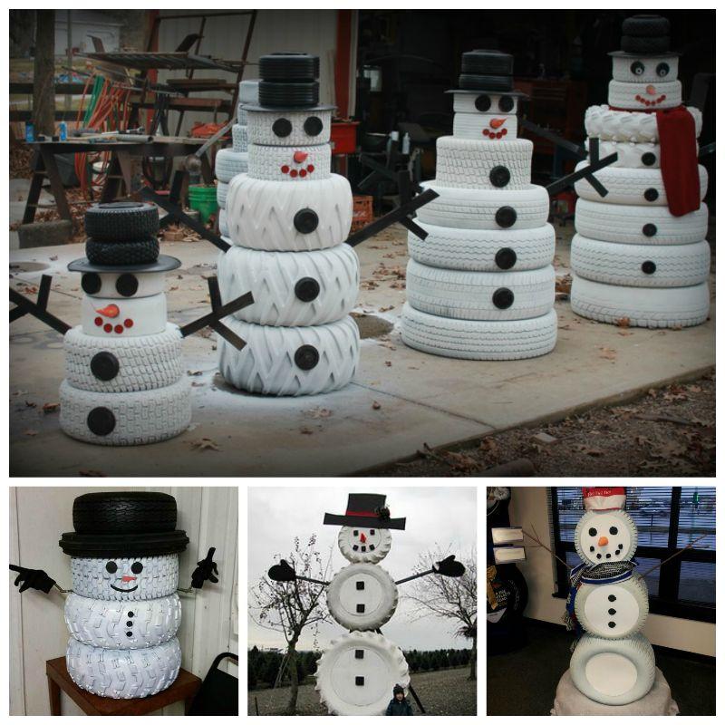 Creative Ideas - DIY Adorable Snowman Decor from Old Tires
