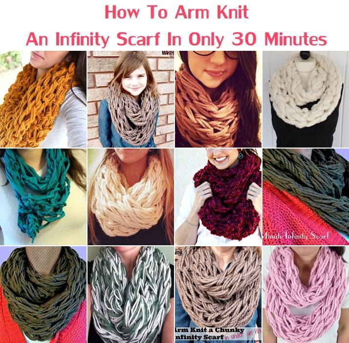 How To Arm Knit Purl Stitch : Creative Ideas - DIY Arm Knit Infinity Scarf in 30 Minutes
