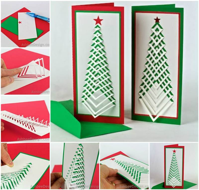 creative ideas diy chevron design christmas tree card - Christmas Tree Card
