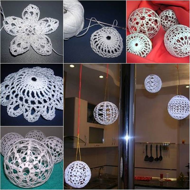 balloon decorating ideas ceiling - Creative Ideas DIY Crochet Christmas Balls