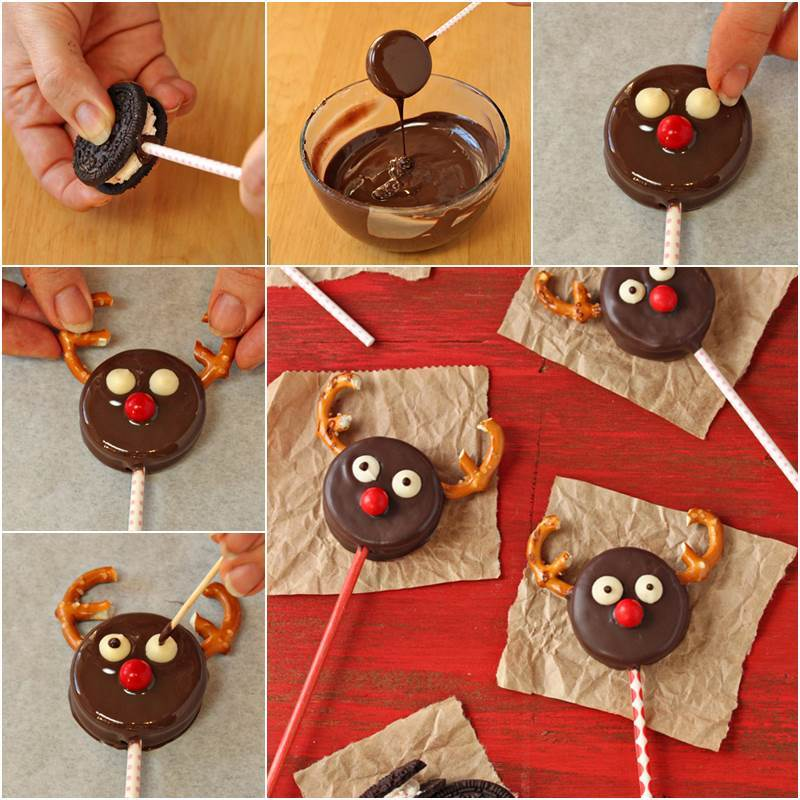Creative Ideas Diy Cute Reindeer Oreo Cookie Pops