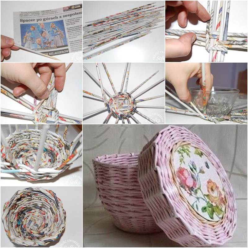 Creative ideas diy cute woven paper basket using newspaper for Creative craft ideas with paper