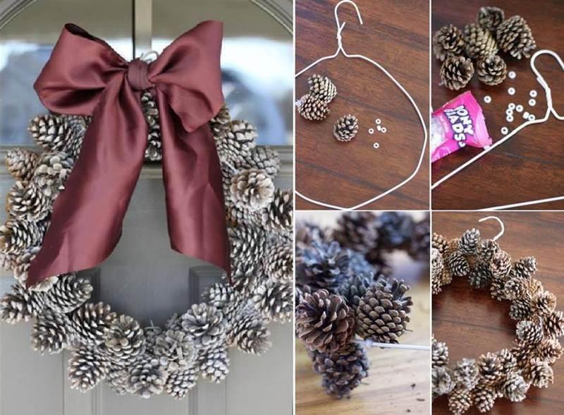 Creative Ideas - DIY Pinecone Christmas Wreath