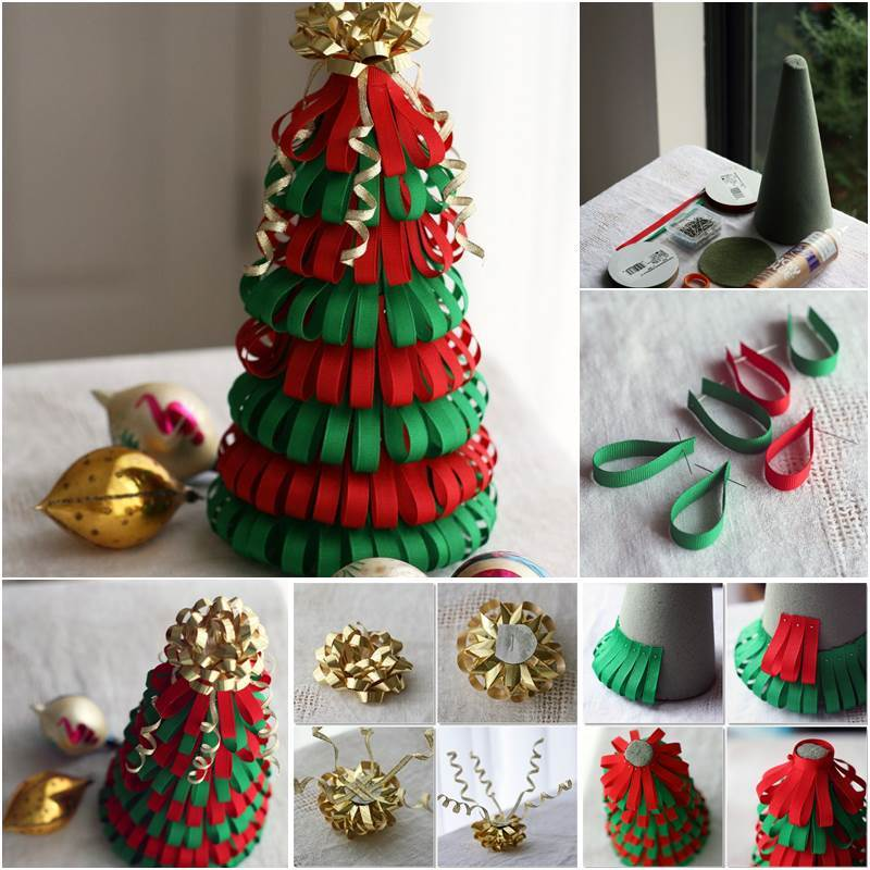 Creative ideas diy ribbon christmas tree for Creative christmas ideas