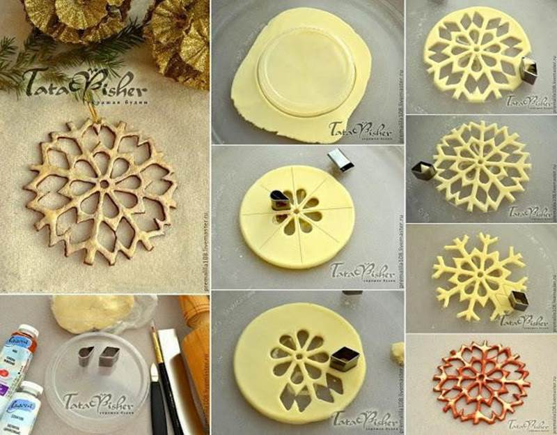 Creative Ideas  DIY Salt Dough Snowflake Ornaments - How To Make Paper Christmas Decorations At Home