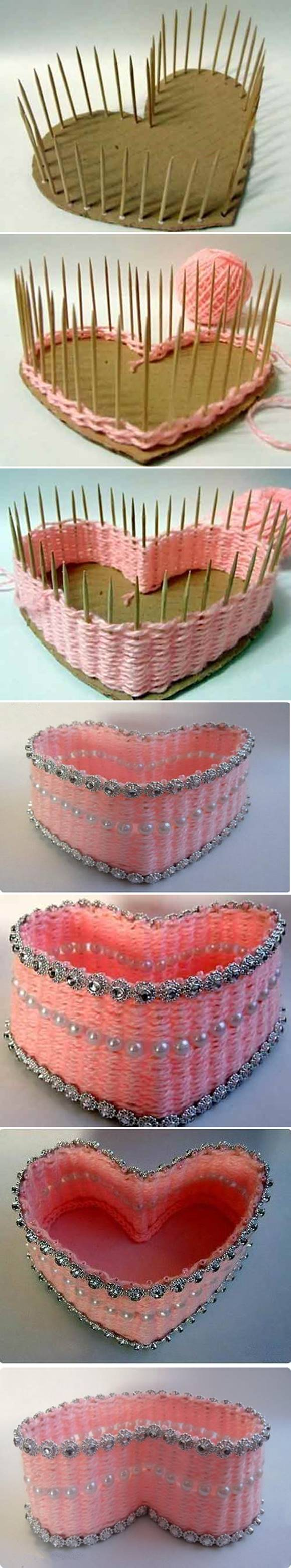 How To Make A Woven Yarn Basket : How to diy yarn woven heart shaped basket