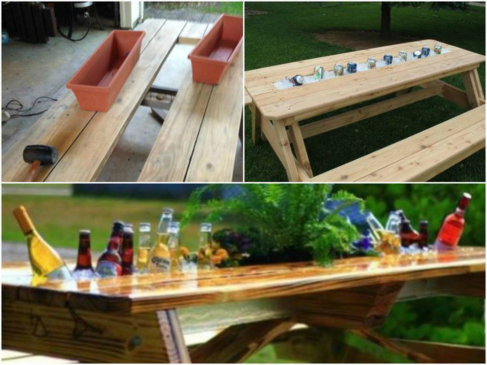 How to make a patio table with built in coolers step by for Domesticated engineer table