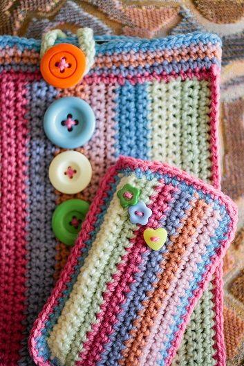 30 Stylish DIY Crochet Phone Cases --> Colorful Crochet Phone Case