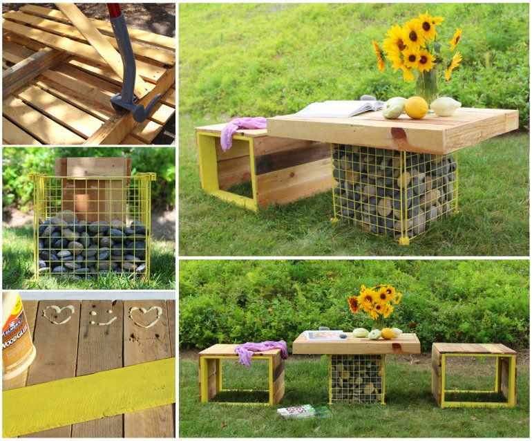 30+ Creative Pallet Furniture DIY Ideas and Projects --> DIY Pallet Wood Bench and Gabion Table