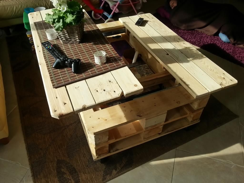 30+ Creative Pallet Furniture DIY Ideas and Projects --> Multifunction Pallet Coffee Table With Storage, Slide Out And Lift Top