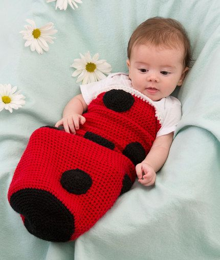 35+ Adorable Crochet and Knitted Baby Cocoon Patterns --> Ladybug Baby Cocoon