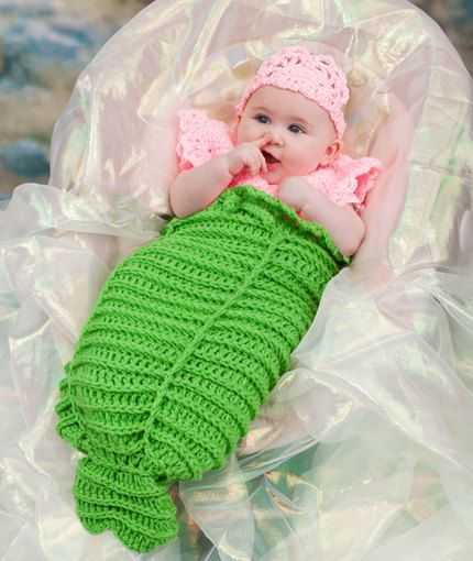 35+ Adorable Crochet and Knitted Baby Cocoon Patterns --> Mermaid Cocoon