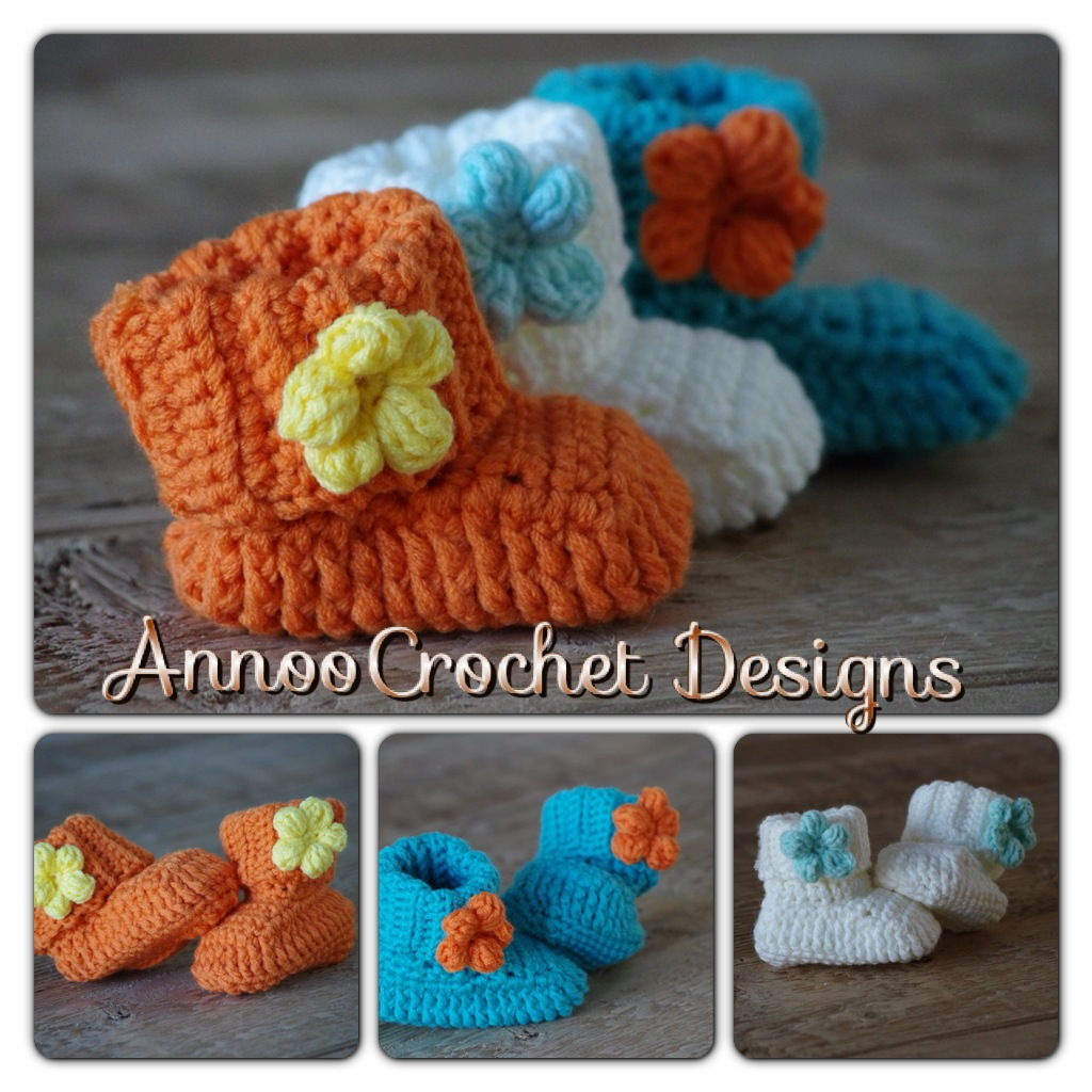 40+ Adorable and FREE Crochet Baby Booties Patterns --> Spring Flower Crochet Baby Booties
