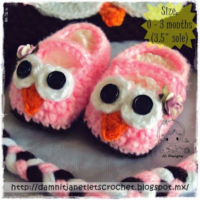 40+ Adorable and FREE Crochet Baby Booties Patterns --> Crochet Owl Mary Jane Slippers
