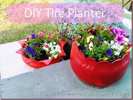 40+ Creative DIY Garden Containers and Planters from Recycled Materials --> DIY Tire Planter