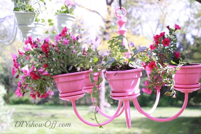 40+ Creative DIY Garden Containers and Planters from Recycled Materials --> DIY Chandelier Planter