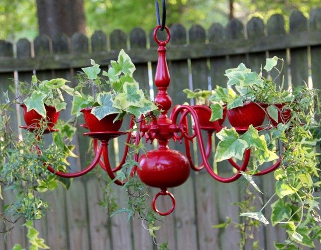 40 creative diy garden containers and planters from recycled materials u003e diy chandelier