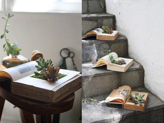 40+ Creative DIY Garden Containers and Planters from Recycled Materials --> DIY Vintage Book Succulent Planters