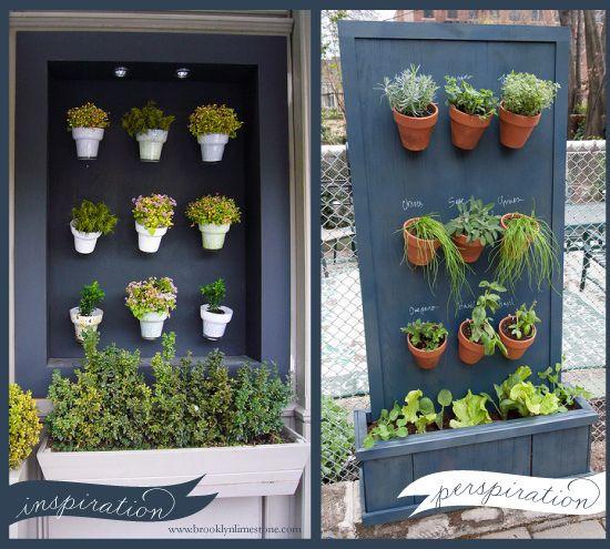 20+ Creative DIY Vertical Gardens For Your Home --> DIY Vertical Herb Garden