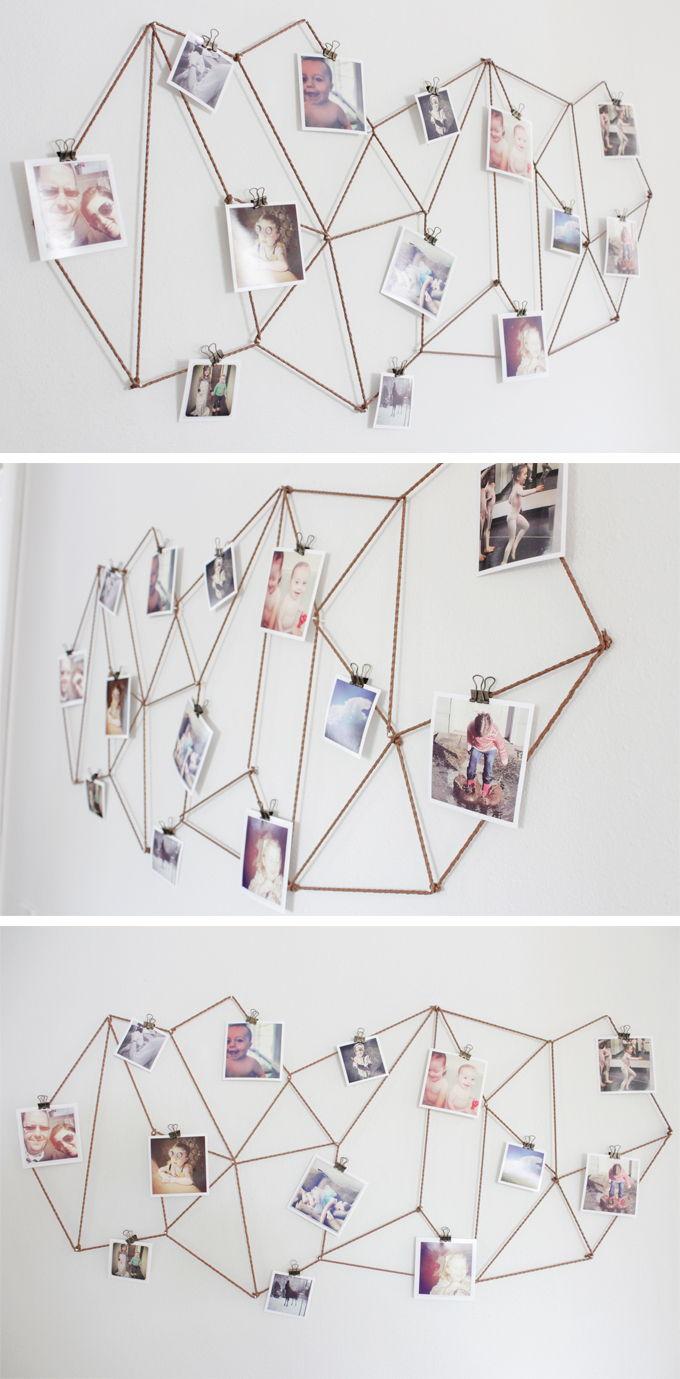 35+ Creative DIY Ways to Display Your Family Photos --> DIY Geometric Photo Display